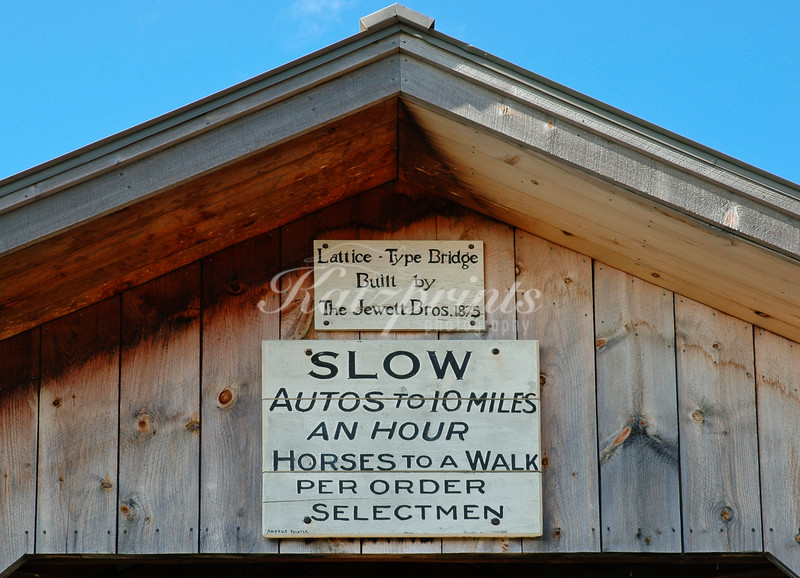 Sign on a covered bridge in Vermont