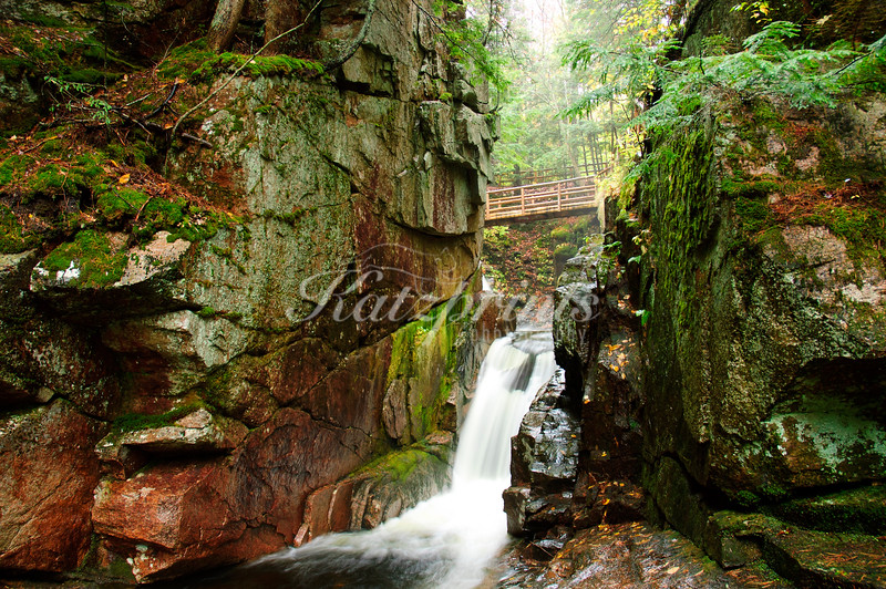 Footbridge across one tier of Sabbaday Falls In new Hampshire