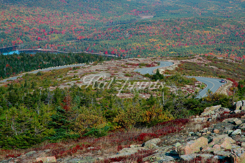 A winding road leads up Cadillac Mountain in Acadia National Park, Maine