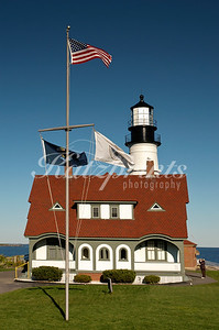 Flag display at the Portland Head Light in Cape Elizabeth, Maine