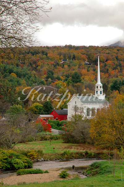 The Stowe Community Church on the banks of the Waterbury River (Little River) in Stowe, Vermont
