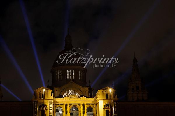Laser show behind the Palau Nacional in Barcelona, Spain.