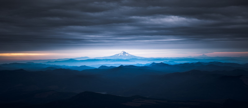 Mt. Hood and Jefferson from St. Helens
