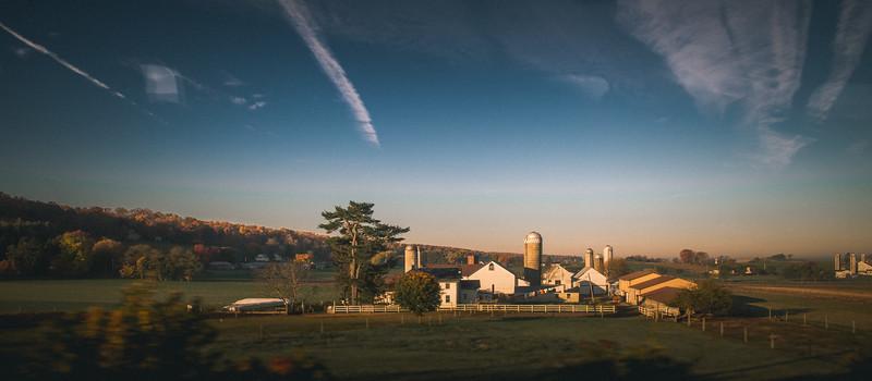 sunrise on an Amish farm somewhere in Pennsylvania