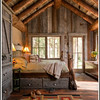 Obvious upscale vibe<br /> Love the reclaimed wood on walls & floors<br /> Natural logs as main beams wonderful but too heavy/expensive for this construction<br /> Nice lamps