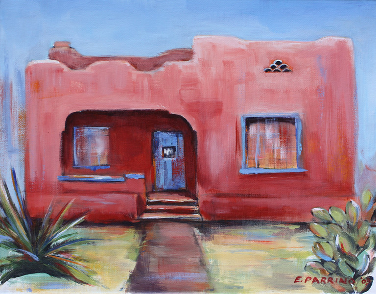 Pink Adobe 11x14 Acrylic on Canvas