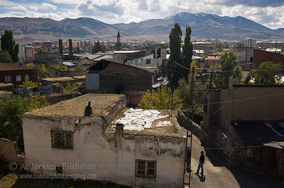 View of Erzurum, looking south from the Citadel. Çifte Minareli Medrese and Palandoken Ski Center are visible.