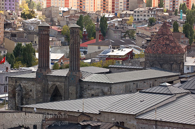 The Çifte Minareli Medrese (Twin Minaret Madrasa), built by the Seljuks in the 13th Century, Erzurum, Turkey.