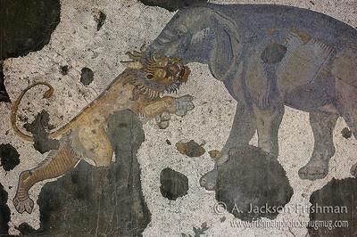 Elephant and lion, Byzantine mosaic, Istanbul.