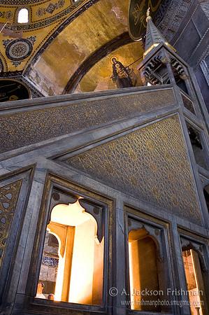 Icon of the Theotokos over Ottoman mimber, Aya Sofya, Istanbul.