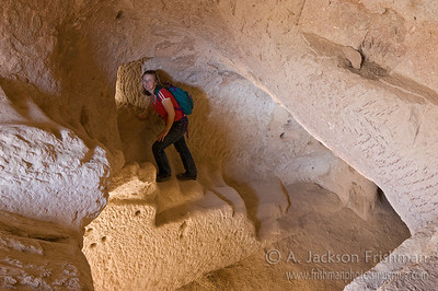 Exploring the labyrinth of cliff dwellings at Zelve, Cappadocia.