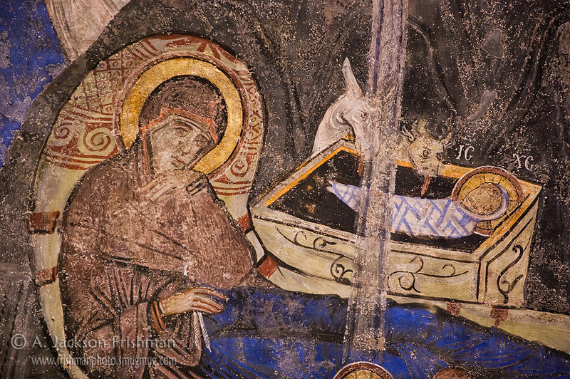 Detail from 11th century Nativity (Christmas) icon, Tokalı Church, Göreme, Cappadocia, Turkey.