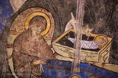 Detail from 11th century Nativity (Christmas) icon, Tokalı Church, Göreme, Cappadocia, Turkey.