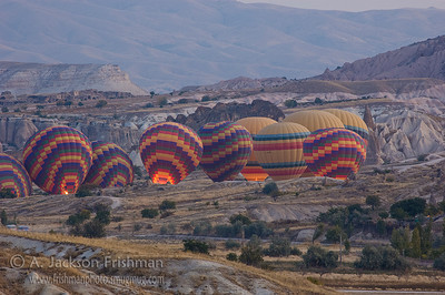 Balloons preparing for the morning launch, Cappadocia.