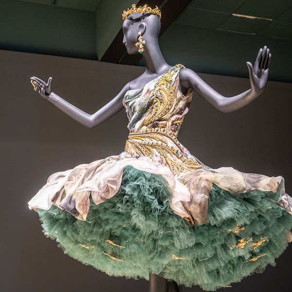 Guo Pei gown on display at the Bowers Museum