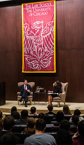 Director of the FBI James Comey visits with Dean Thomas J. Miles at the Law School on Friday, October 23, 2015. (photo by Jean Lachat)