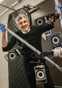 Cameras set up in the neuroscience lab  where research on motor function and the brain is conducted. (Photo by Jean Lachat)