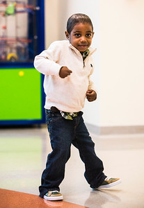 Jacob Boddie dances at Comer Children's Hospital on Tuesday, November 18, 2014. (Photo by Jean Lachat)