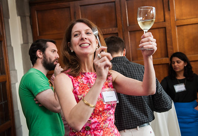 "Brooke Noonan begins the toast during the ""Toast the Doctors"" event  for Post-Doctoral graduates, Wednesday, June 10, 2015 at the Quad Club. (photo by Jean Lachat)"