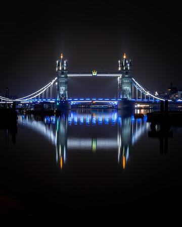 Tower Bridge reflection.