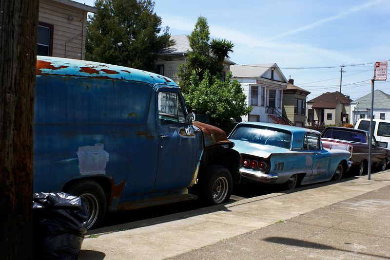 OLD CARS. WEST-OAKLAND. CALIFORNIA.