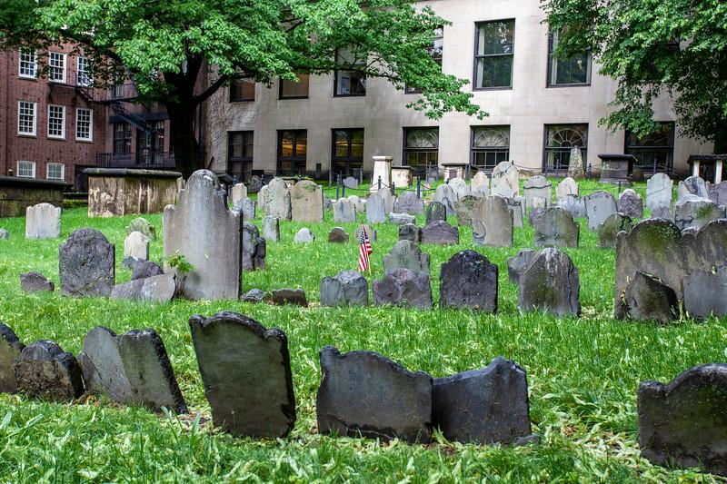 Granary Burying Ground in the center of Boston, Massachusetts, USA