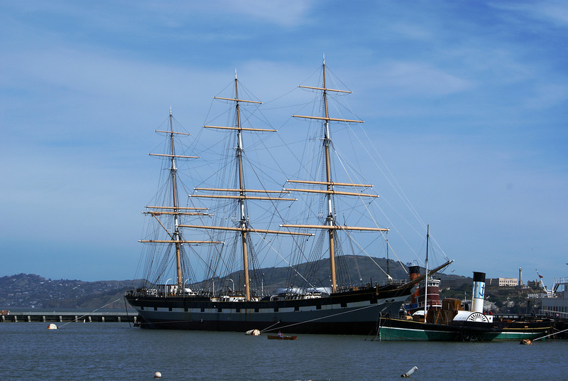 THE BAY WITH TALL SHIP. SAN FRANCISCO. CALIFORNIA.