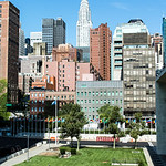 NEW YORK CITY. MANHATTAN. UNITED NATIONS HEADQUARTERS. VIEW AT THE EMPIRE STATE BUILDING.
