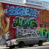 MURAL WITH OLD MERCEDES-BENZ. HEIGHT ASHBURY. SAN FRANCISCO. CALIFORNIA.