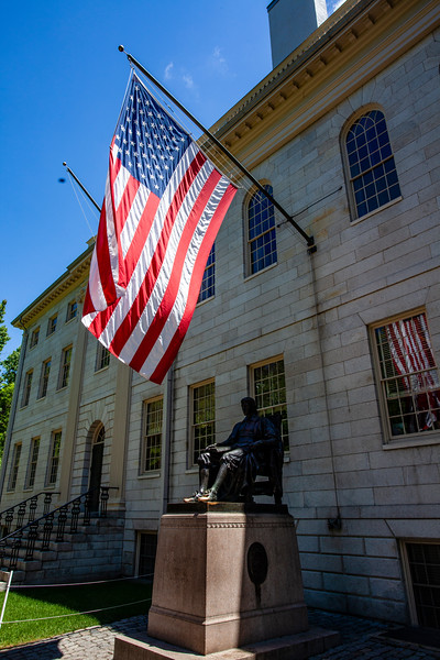 University Hall and the statue of John Harvard, Harvard Univeristy in Boston, Massachusetts, USA
