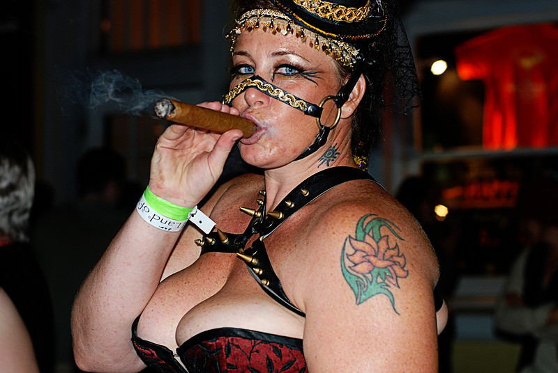 Woman With Cigar<br /> Bourbon Street NOLA Halloween Parade
