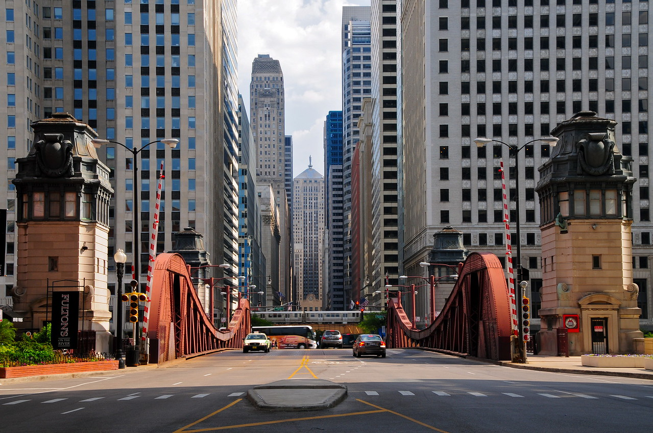 The Chicago,IL CBOT Building and LaSalle Street Canyon on May 19, 2012. The building was built in Art Deco Style in 1930 and listed as a National Historic Landmark on June 2, 1978