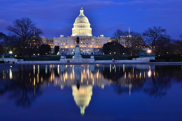US Capitol Building and reflection pool - Washington DC United States