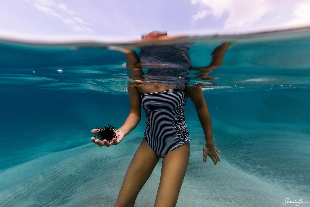 """Woman holding """"wana"""" a.k.a. sea urchin in Hawaii."""