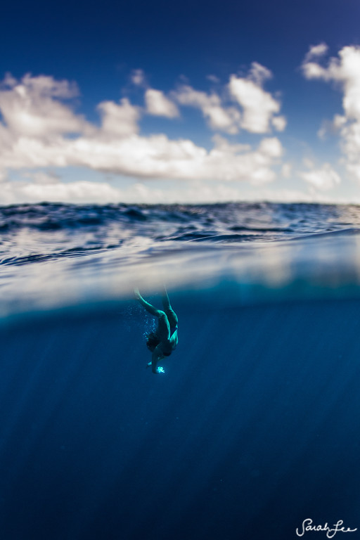 Alison Teal, taking a dive in the deep blue sea in Fiji.
