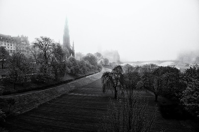Walking in a fog. Edinburgh , Scotland