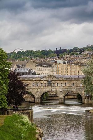 Birds flying over the Pulteney Bridge in Bath, England. This bridge was built in 1774.