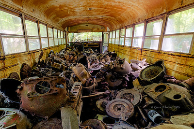 Inside old school bus