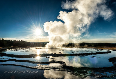 Great Fountain Geyser - Sunset Reflections