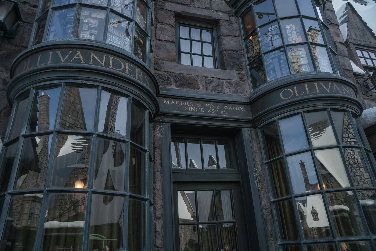 Reflections of Hogsmeade in the windows of Ollivanders