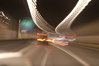 Long exposure traveling in a Swiss Tunel near the border of Italty