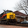 An Iowa Interstate train passes the old Rock Island depot in Iowa City, IA. 28 February, 2017.