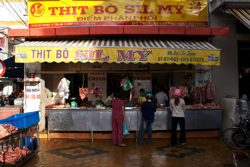 MEKONG DELTA. LOCAL MEAT STORE.