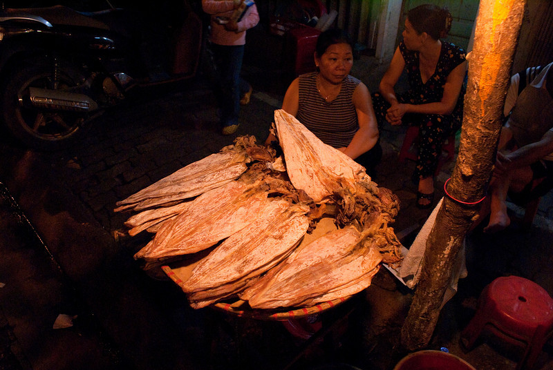 HANOI. DRIED FISH AT EVENING STREET MARKET.
