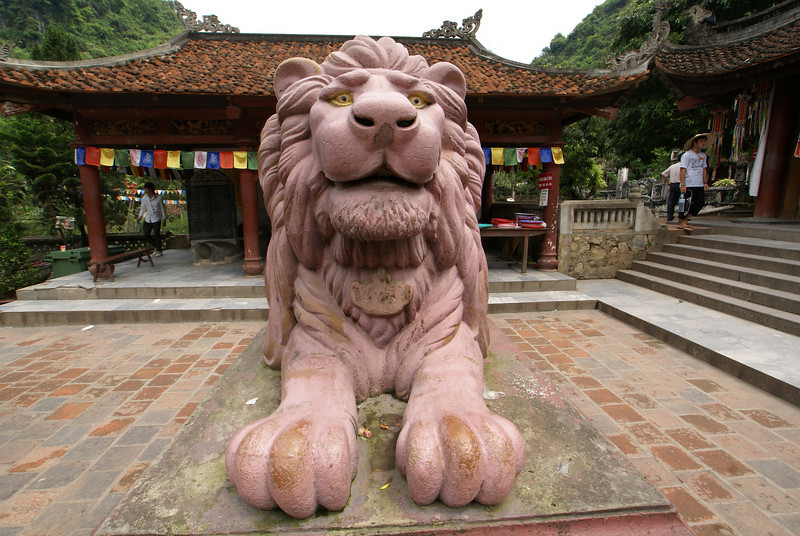 HANOI. PERFUME PAGODA. STATUE OF A LION IN THE TEMPLE. VIETNAM.