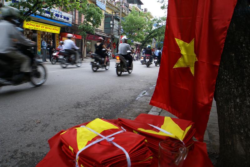 VIETNAMESE FLAGS. HANOI. OLD QUARTER.