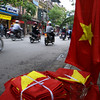 VIETNAMESE FLAGS. HANOI. OLD QUARTER.