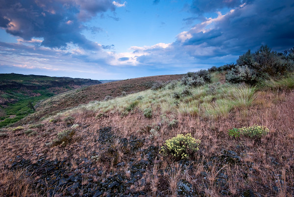 A spring storm rolls eastward down Cowiche Ridge