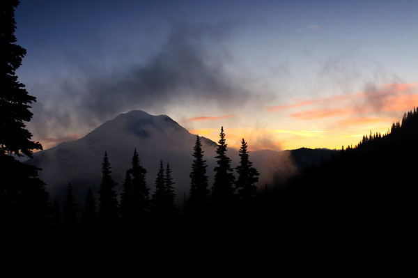 Sunset behind Mt Rainier