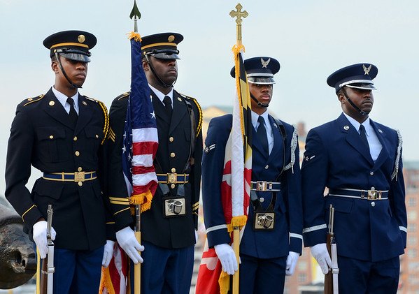 Servicemen at a dedication on Baltimore's Federal Hill